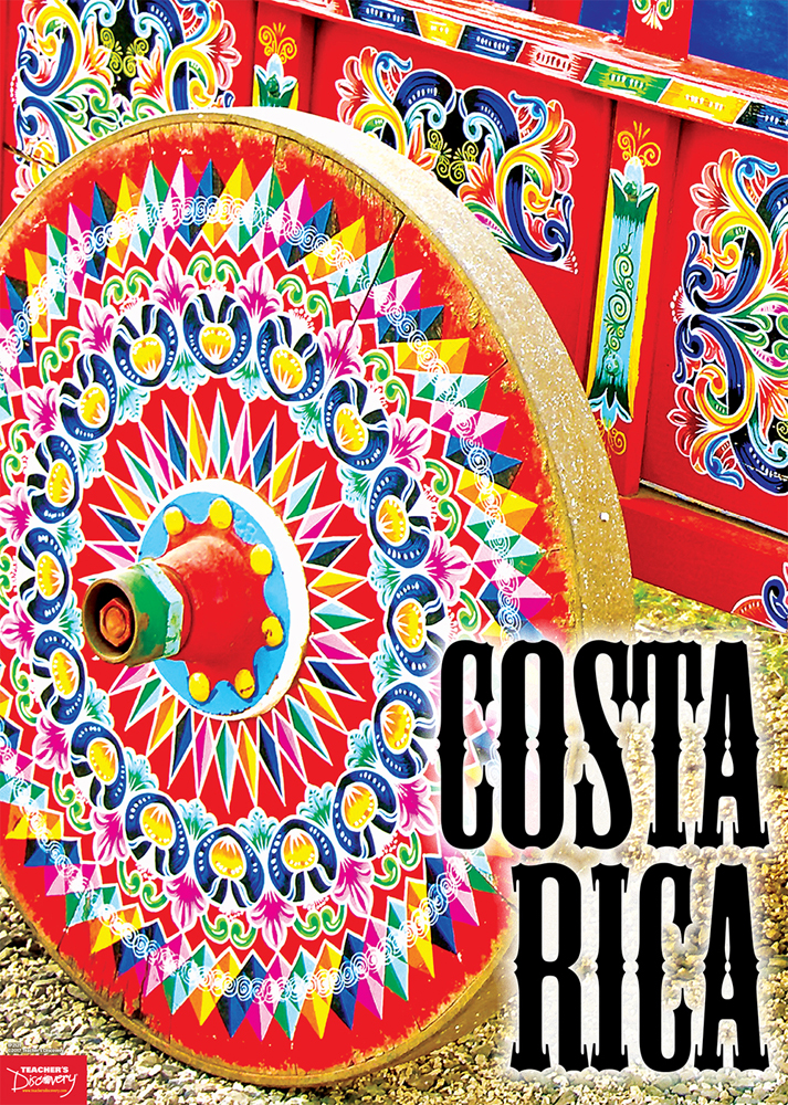Costa Rica, Ox Cart Spanish Travel Poster
