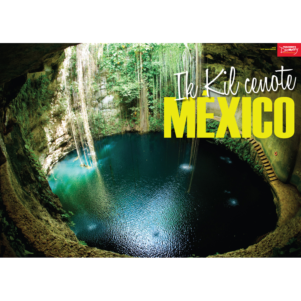 Ik kil cenote m xico spanish travel poster spanish for Free travel posters for teachers