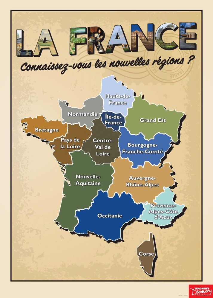 French Regions Poster, French: Teacher\'s Discovery