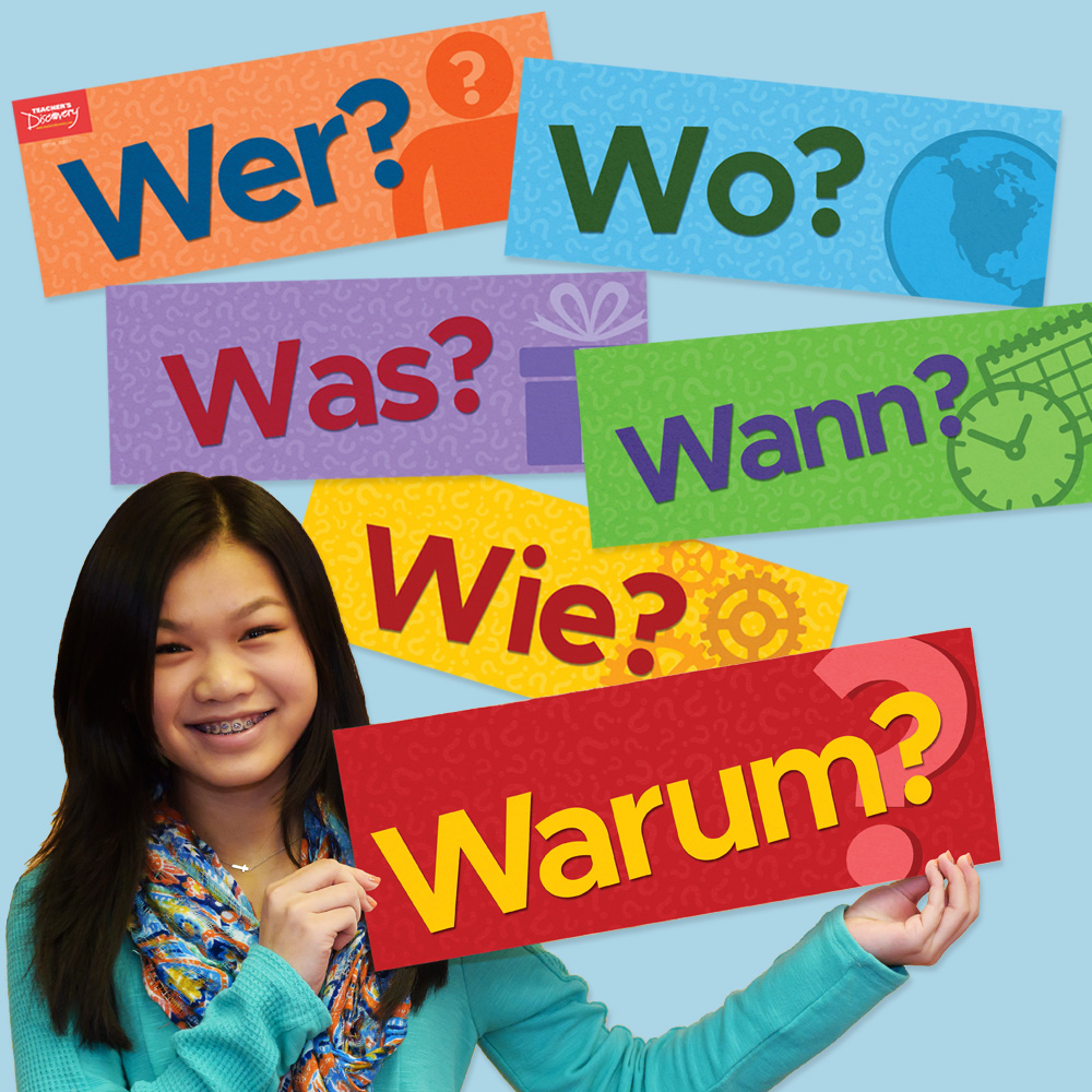 Question Words German Signs (Set of 6)