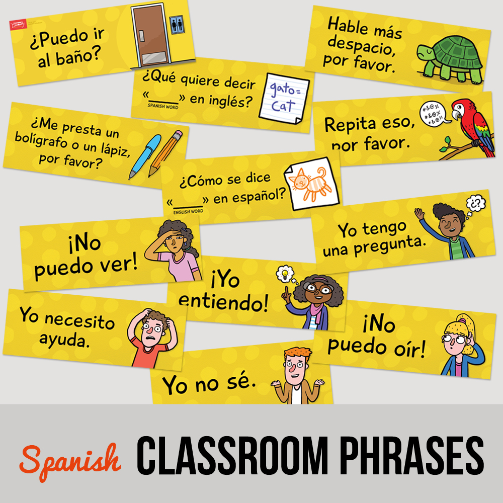 Classroom phrases spanish signs set of 12 classroom for Farcical in spanish