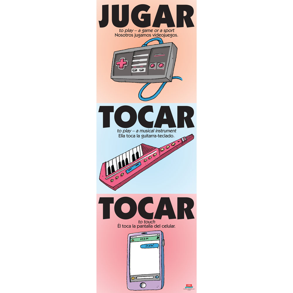 Vexing Verbs Jugar and Tocar Spanish Poster