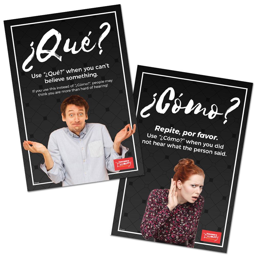 Qué vs. Cómo Spanish Poster Set