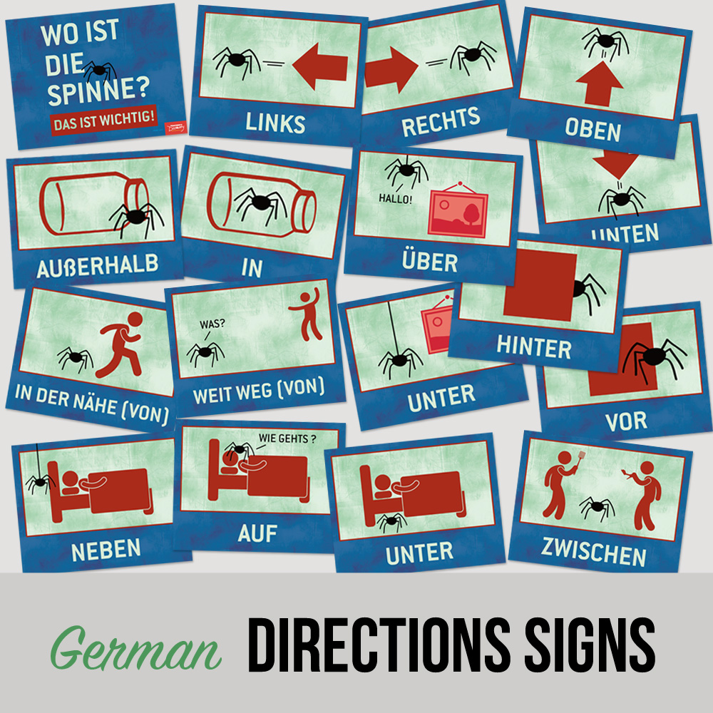 Where Is The Spider German Directions Signs Set Of 17 German