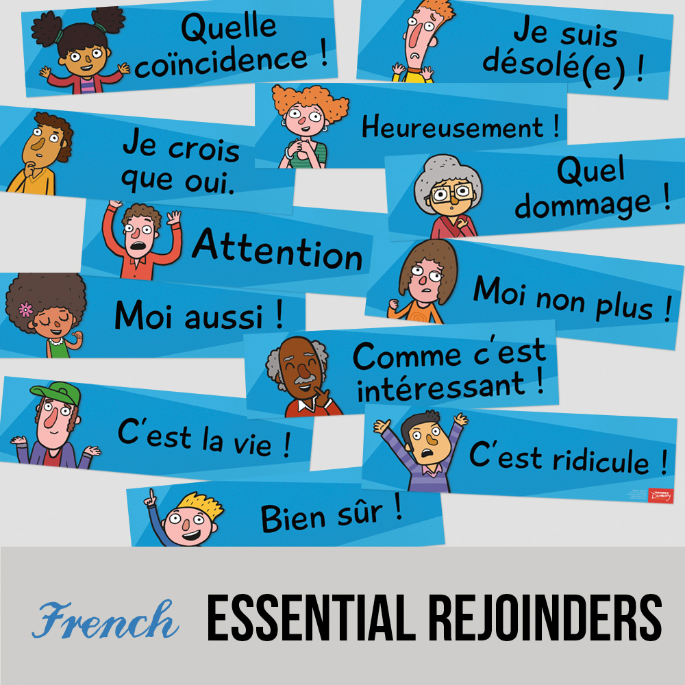 Essential French Rejoinder Signs - Set of 12