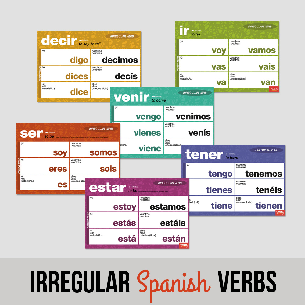 Essential Irregular Spanish Verbs Chart Set