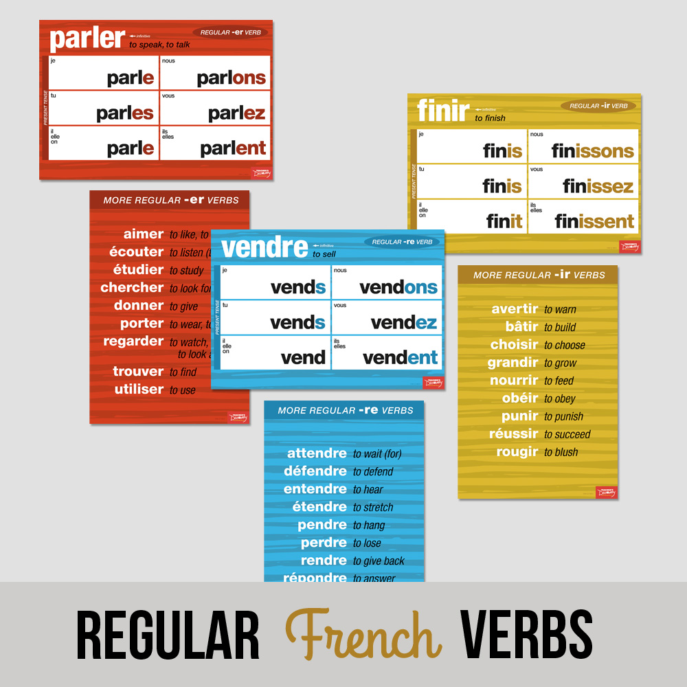 Regular French Verbs Chart Set
