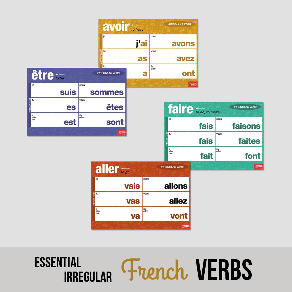 Essential Irregular French Verbs Chart Set