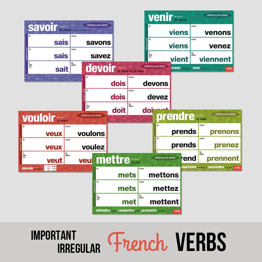 Important Irregular French Verbs Chart Set