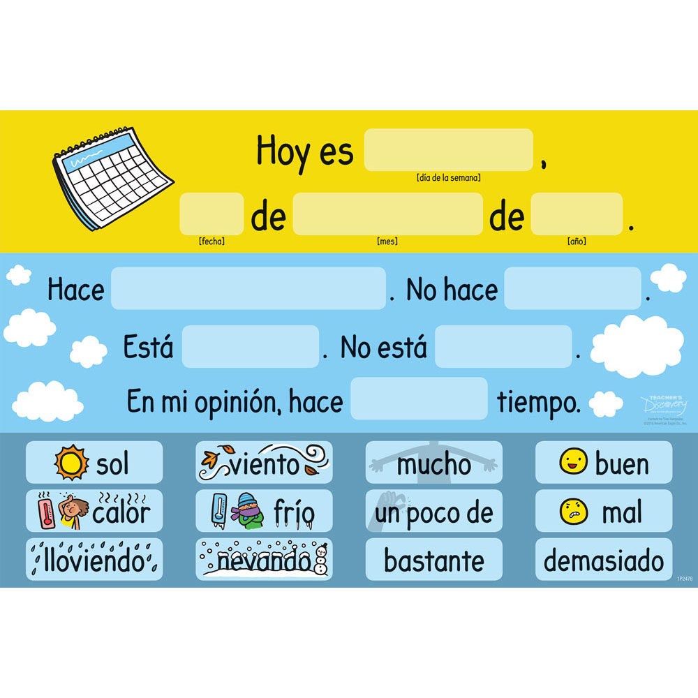 Tina's Weather Station Spanish Chart