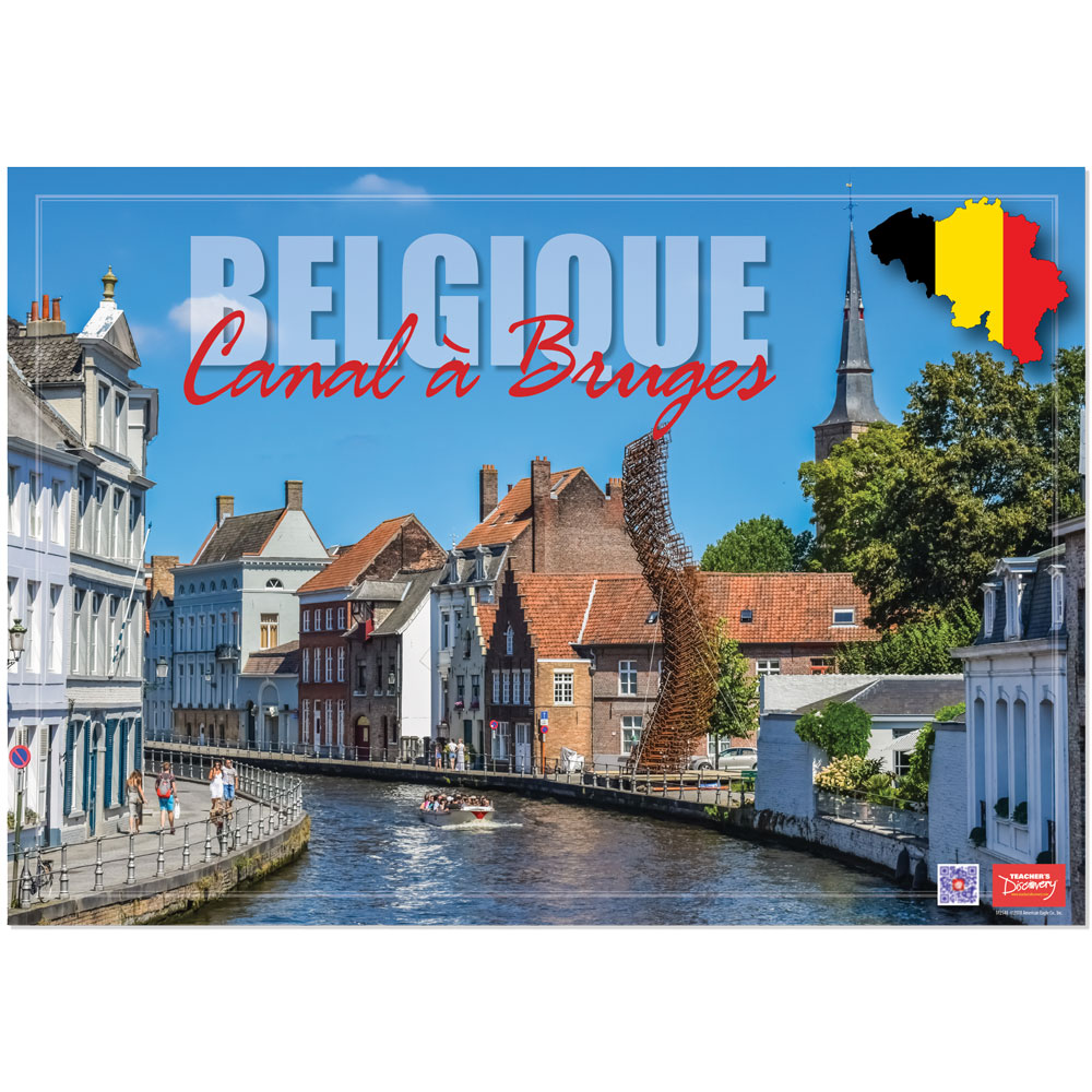 Belgium Canal à Bruges Enhanced™ French Travel Poster