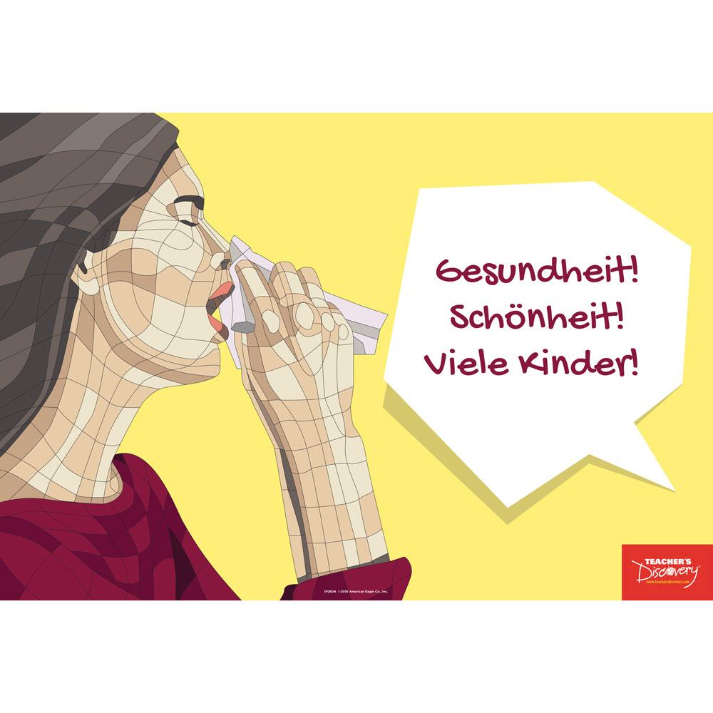 Sneezes Idiom German Mini-Poster