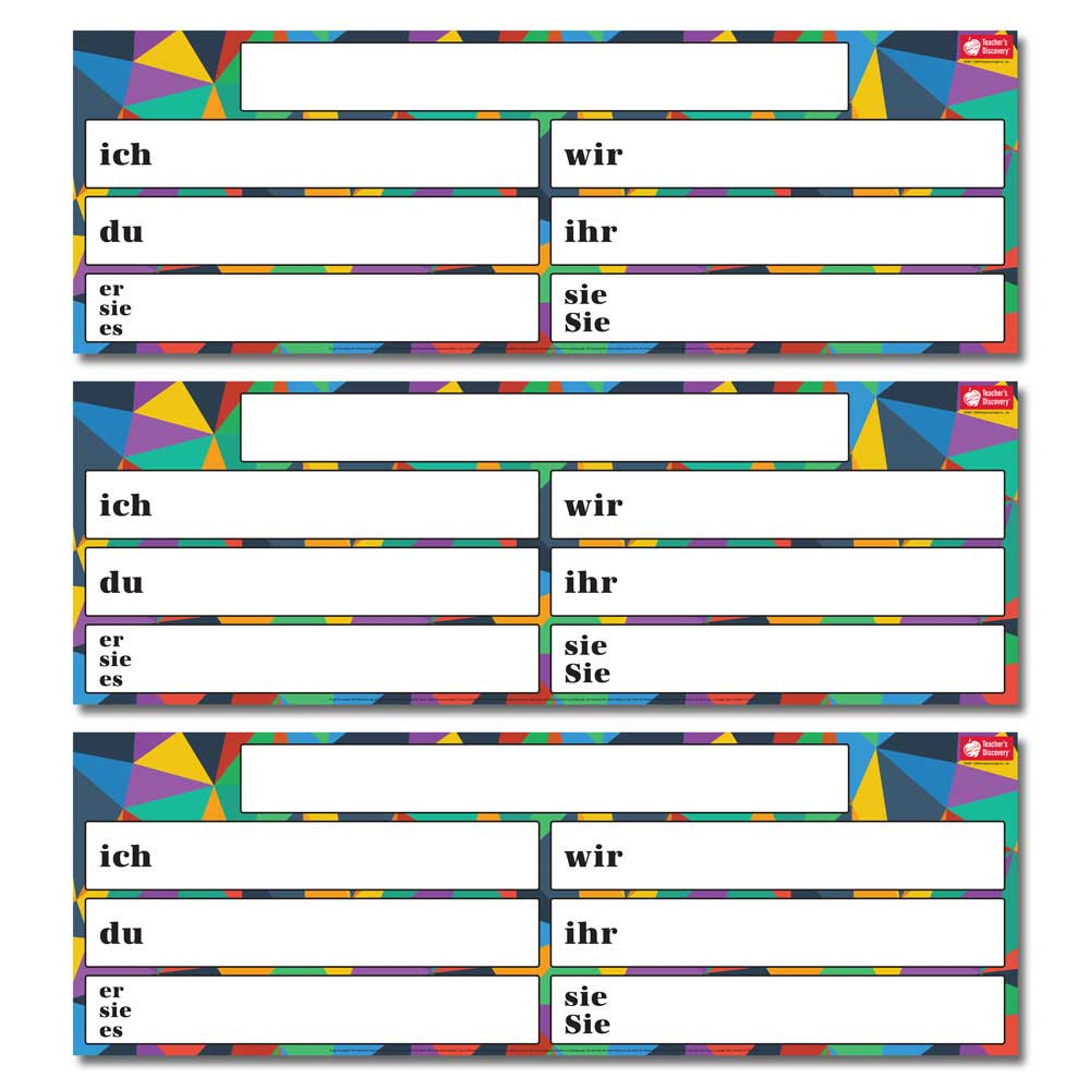 Dry-Erase German Verb Charts Set of 3 (2020)
