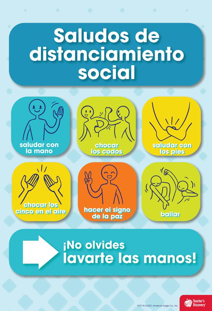 Social Distancing Greetings Spanish Mini-Poster