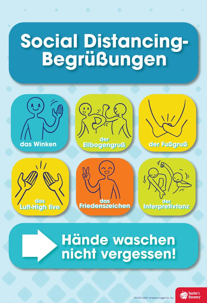 Social Distancing Greetings German Mini-Poster