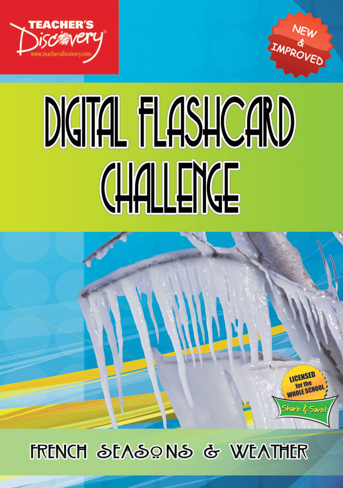 Digital Flashcard Challenge Game French Seasons and Weather