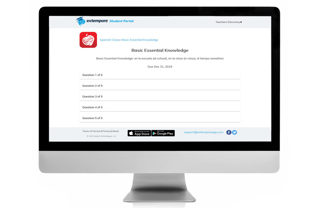 Basic Essential Knowledge Spanish Oral Assessment for Extempore App