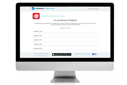 Los pasatiempos Oral Assessment for Extempore App