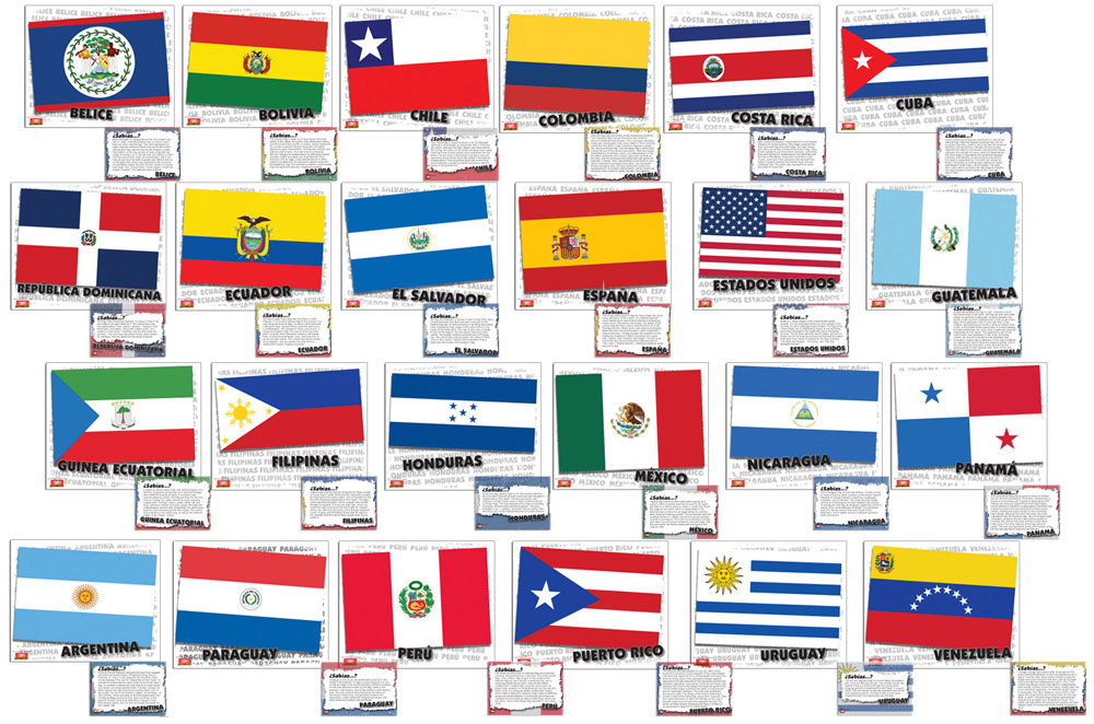 Flags of Spanish-Speaking Countries Bulletin Board Set, Spanish ...