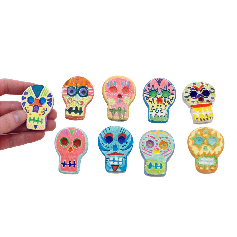 Day of the Dead Skull Magnet Kit - Day of the Dead Skulls and Magnets ONLY Set
