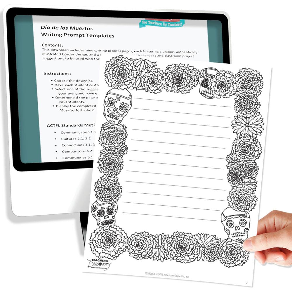 Día de los Muertos Writing Prompt Templates Download