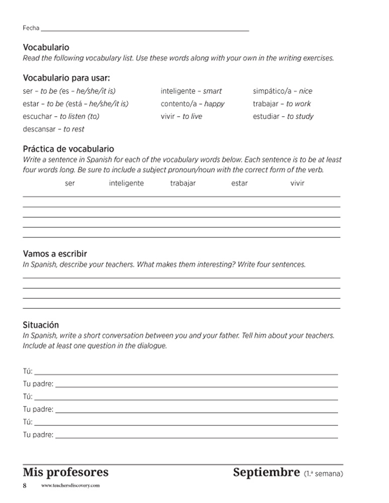 Weekly writing prompts for spanish level 1 book books teachers enlarge image fandeluxe Gallery