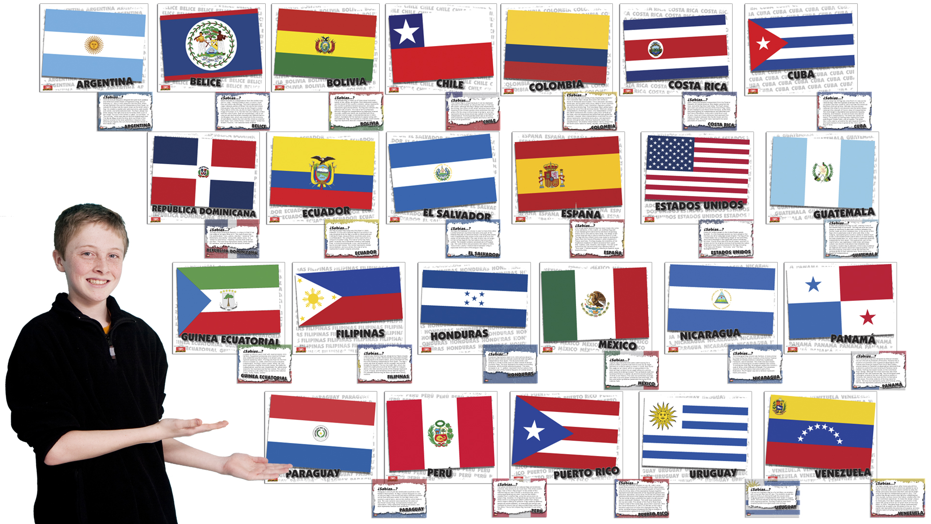 flags of spanish speaking countries bulletin board set spanish