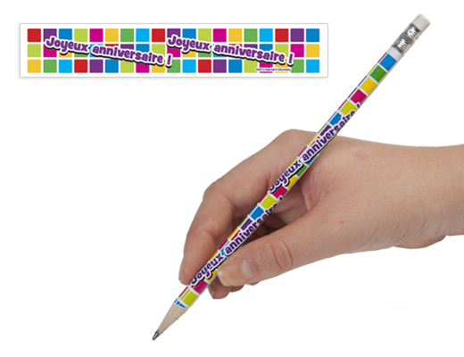 French Happy Birthday Pencils - French Happy Birthday Pencils Box of 144 Pencils