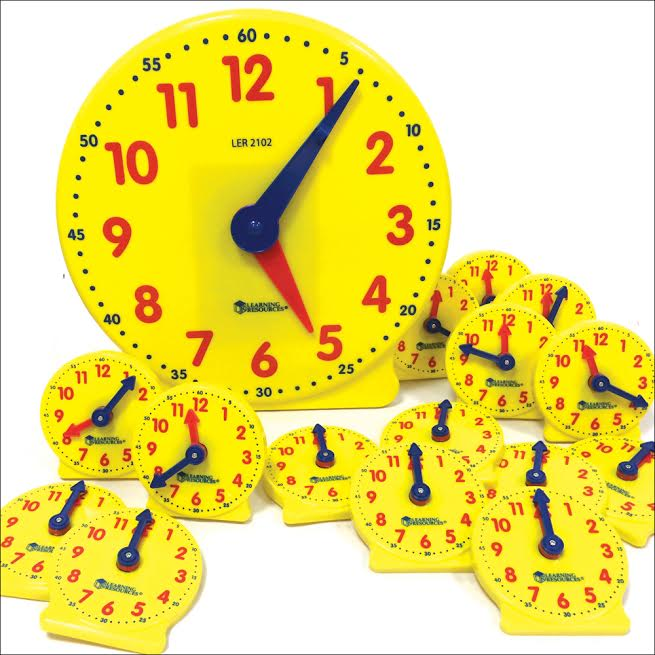 Large Teacher's Demonstration Clock and Mini Student Clocks