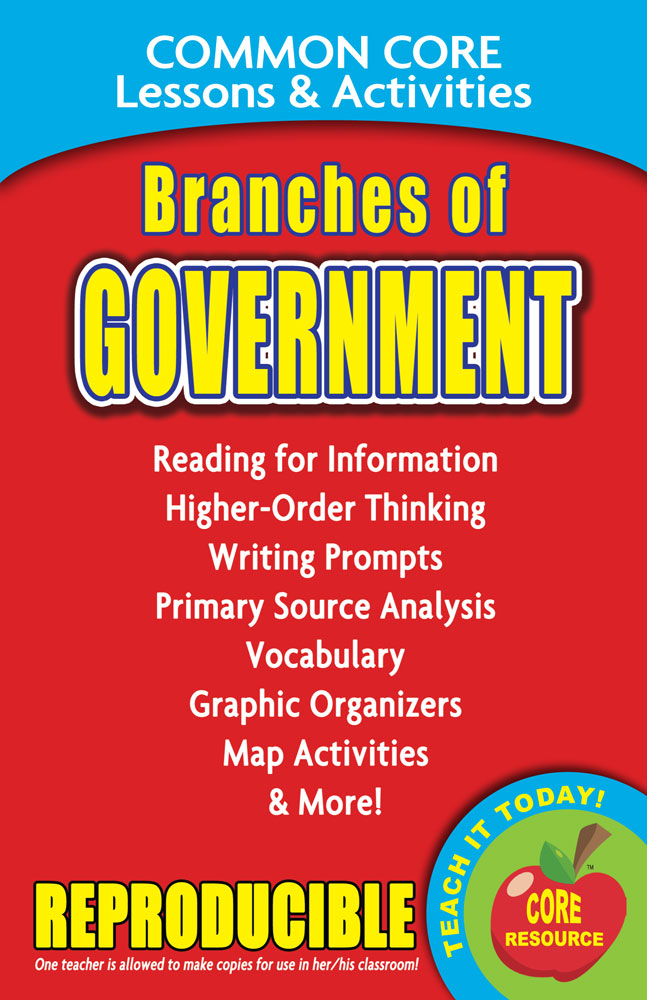Common Core Lessons & Activities: Branches of Government Book
