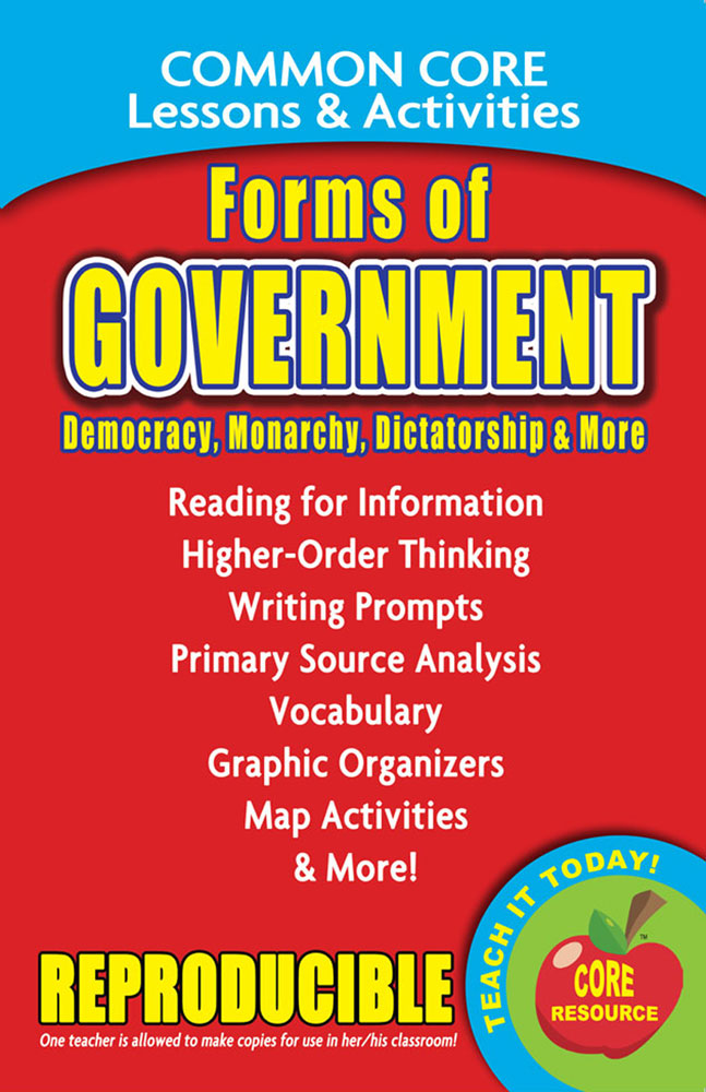 Common Core Lessons & Activities: Forms of Government Book