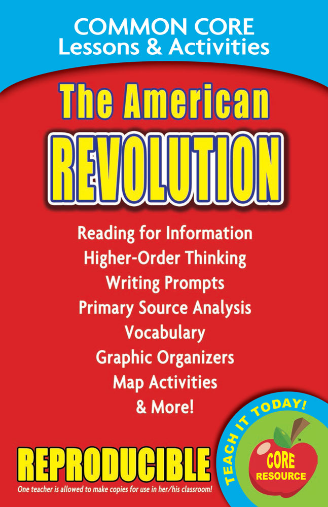 Common Core Lessons & Activities: The American Revolution Book