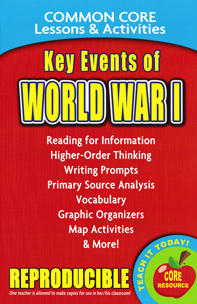 Common Core Lessons & Activities: Key Events of World War I Book