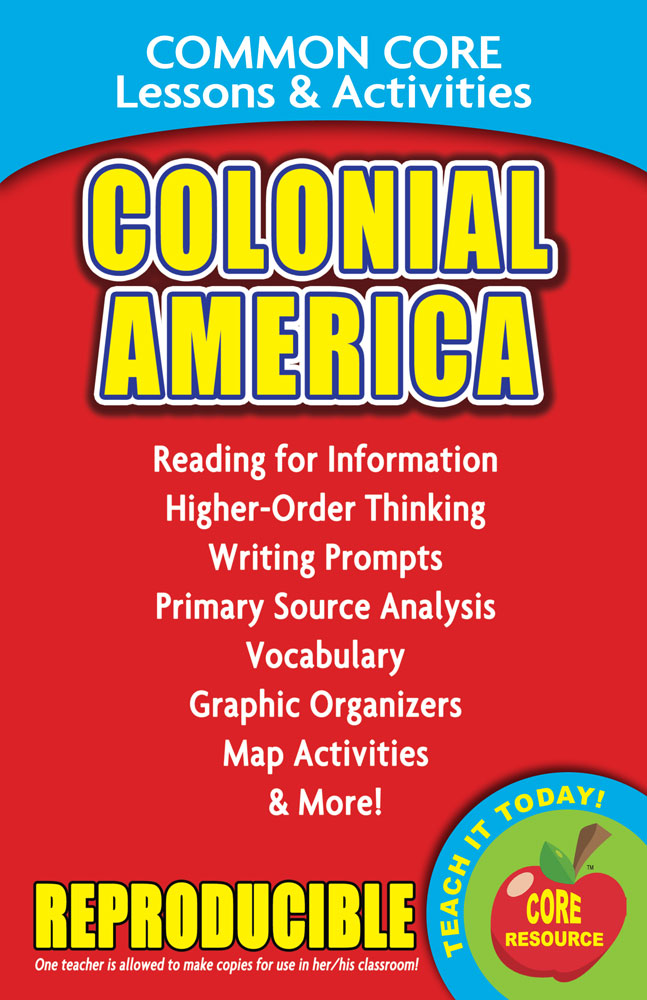 Common Core Lessons & Activities: Colonial America Book