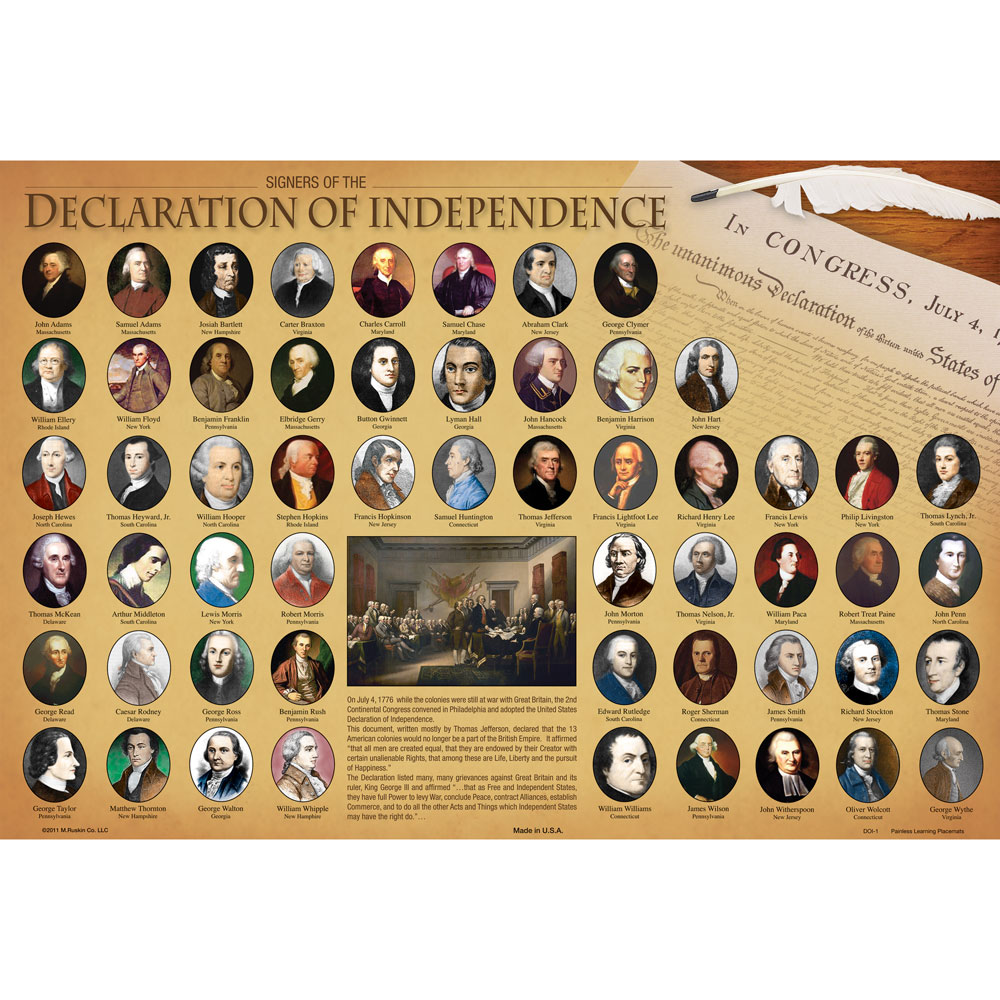 Dry-Erase Declaration of Independence Desk Placemat