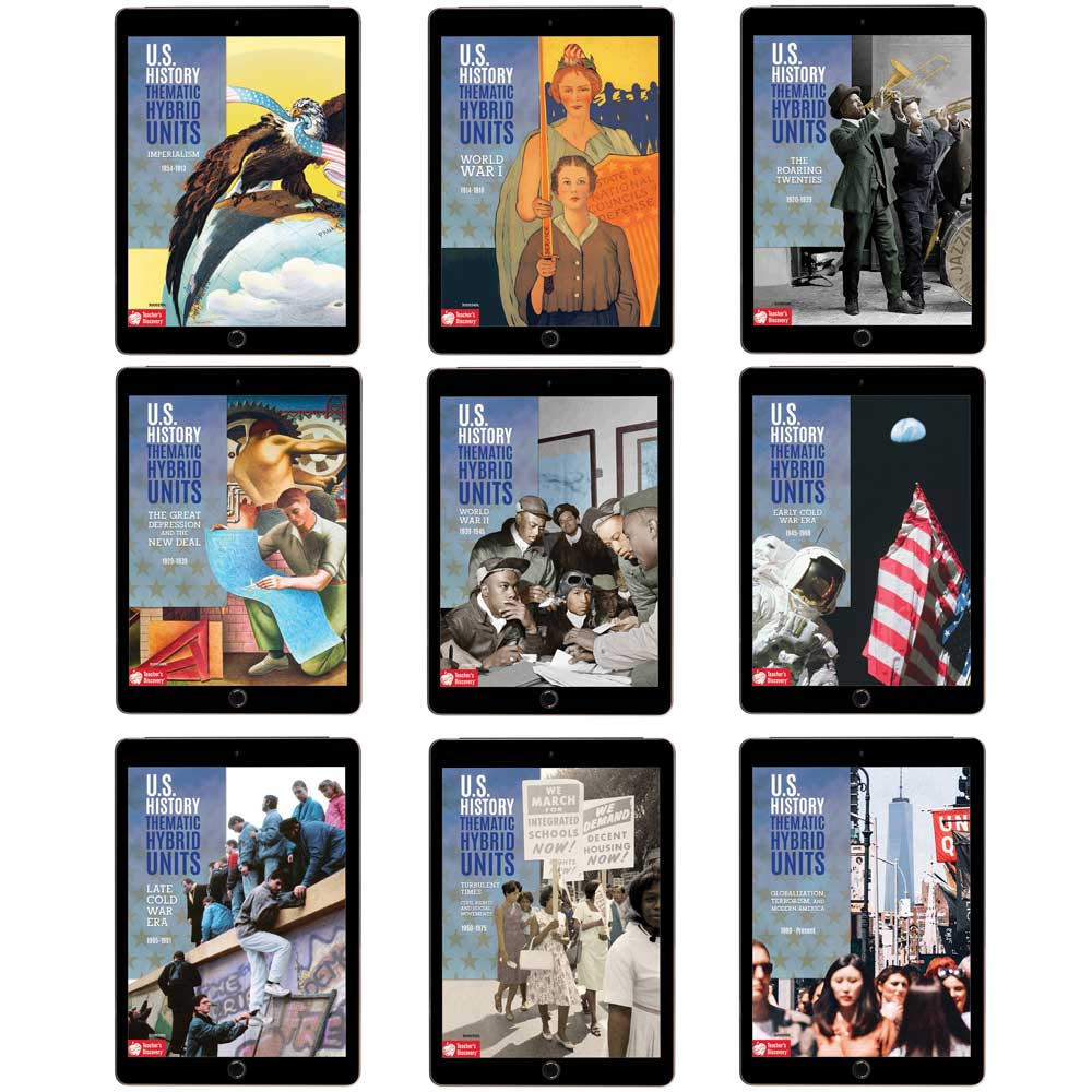 Complete U.S. History 2 Thematic Hybrid Unit Curriculum Set of 9 Downloads