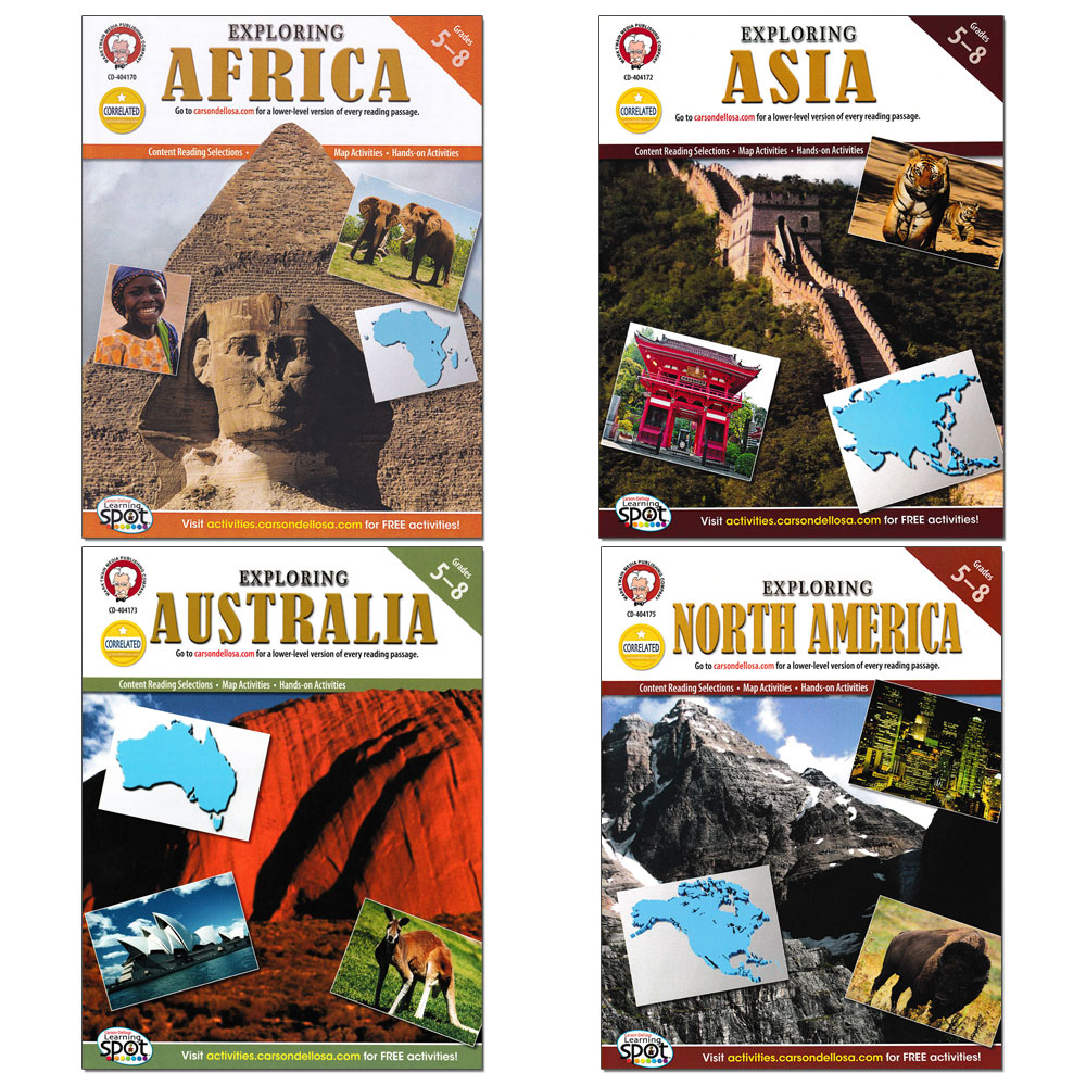 Exploring Continents of World Geography Activity Book Set of 4