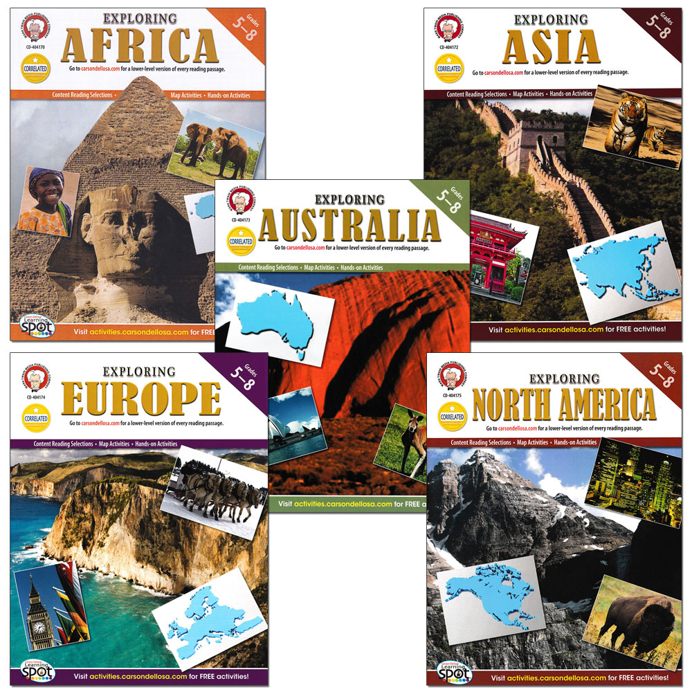 Exploring Continents of World Geography Activity Book Set of 5