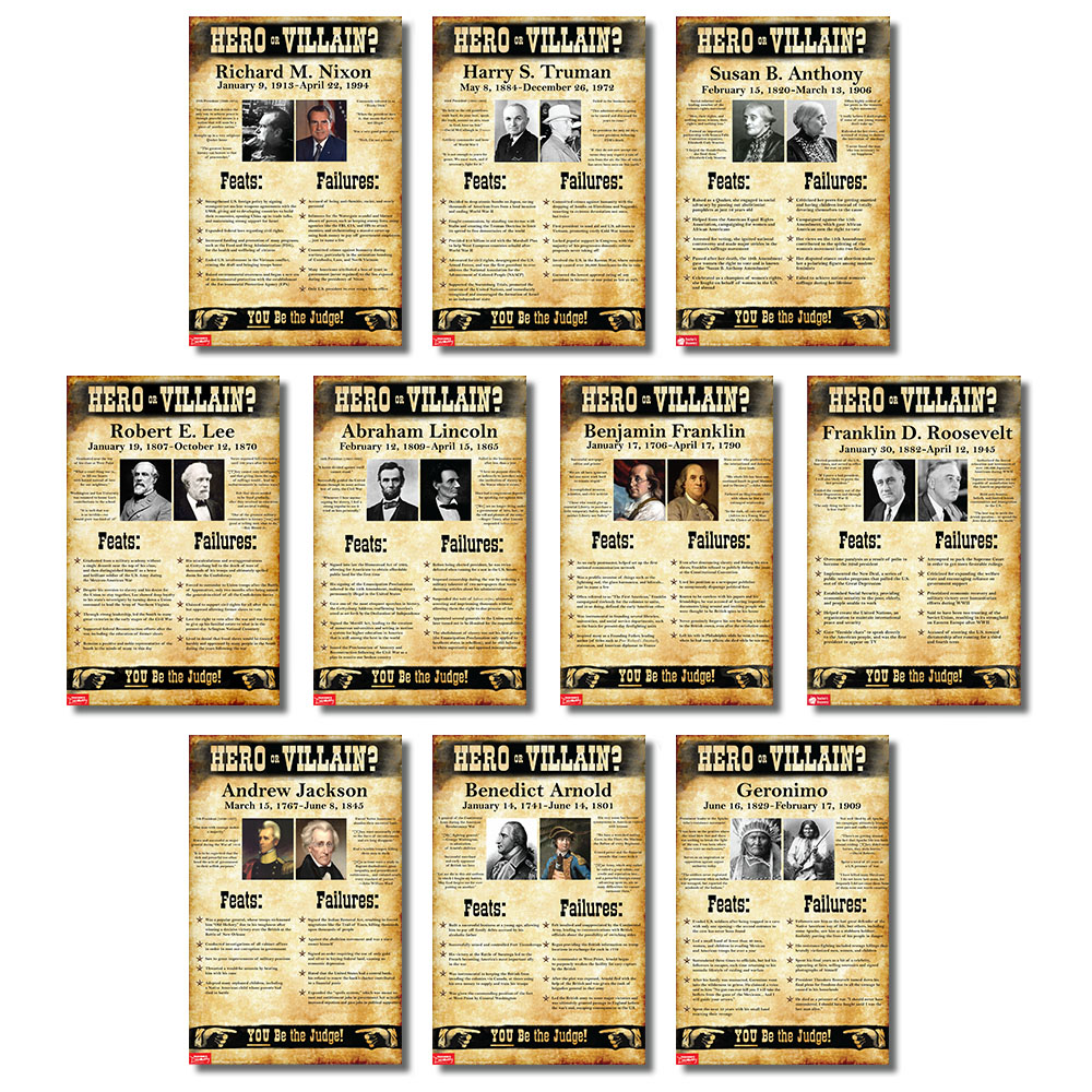 U.S. History Hero or Villain? Mini-Poster Set of 10