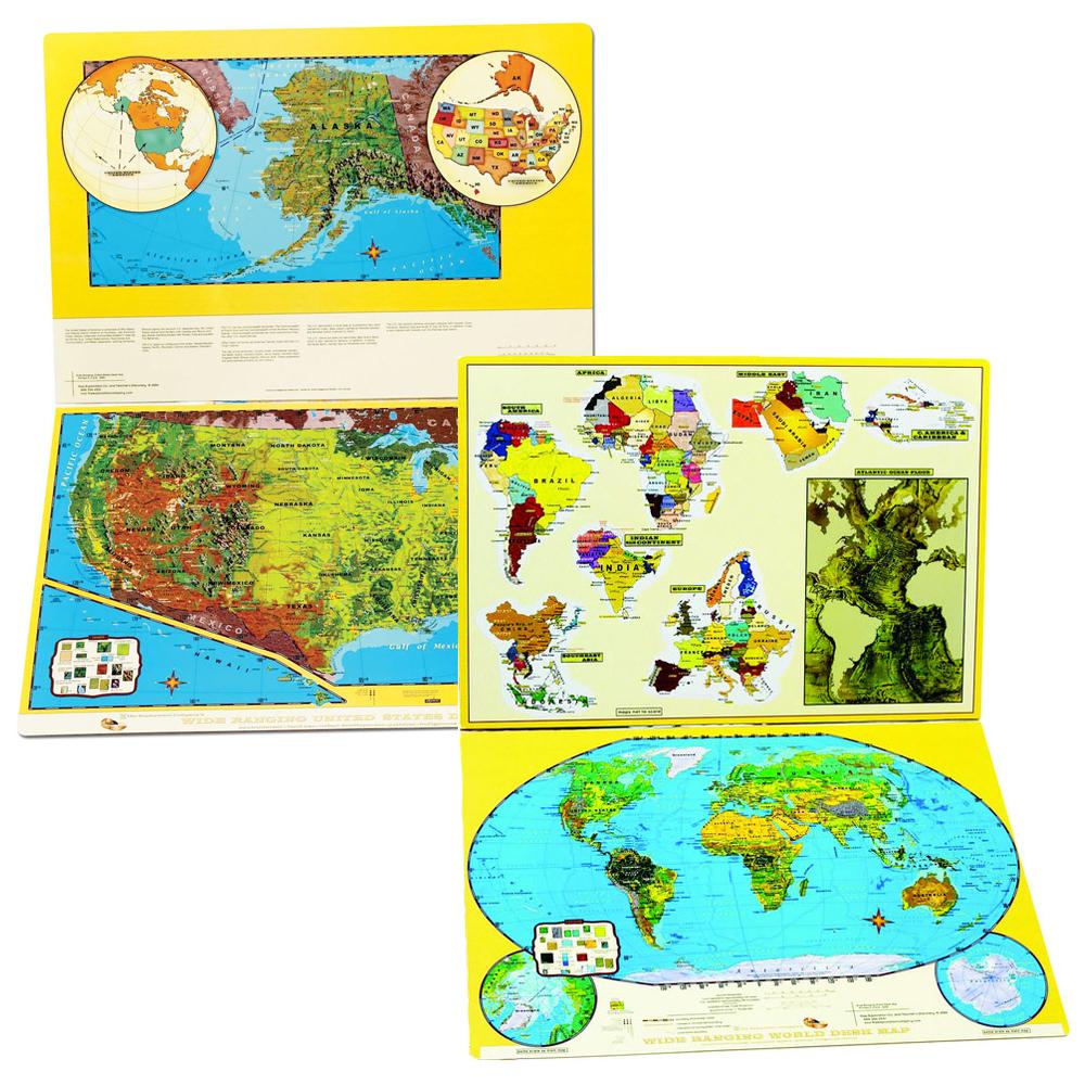 U.S./World Reversible, Folding Desk Map Set of 30