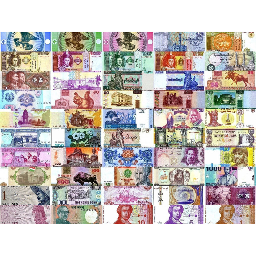 World Currency Set of 50 Bills