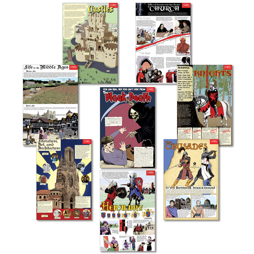 Middle Ages Graphic Novel Posters - Set of 8