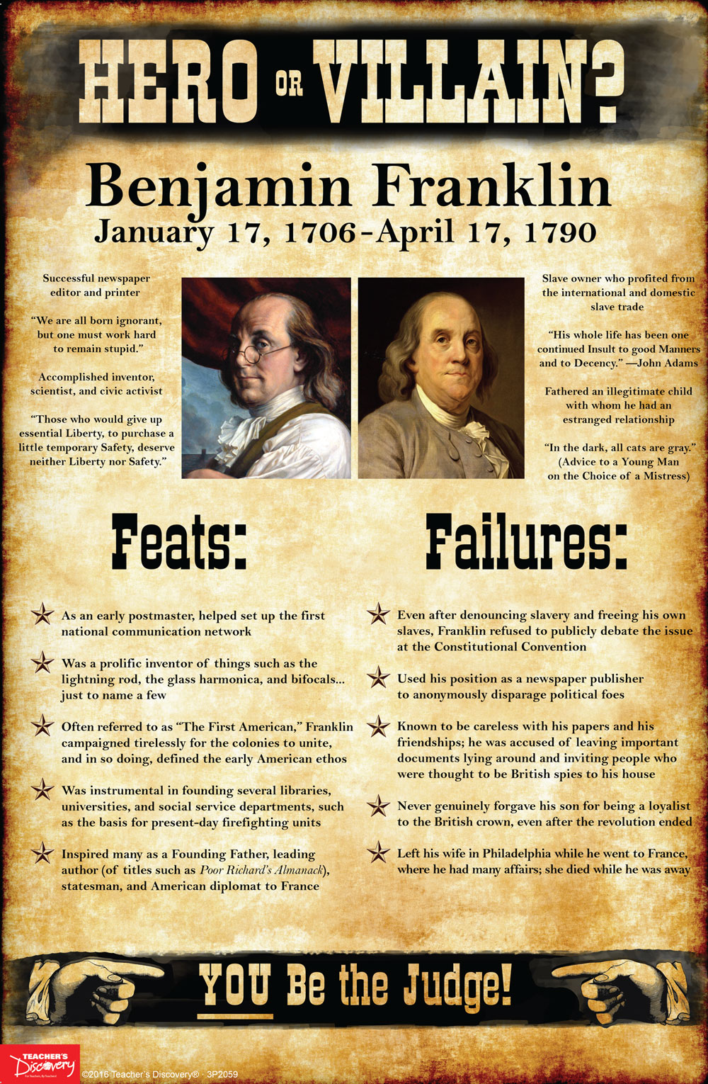 Benjamin Franklin:  Hero or Villain? Mini-Poster