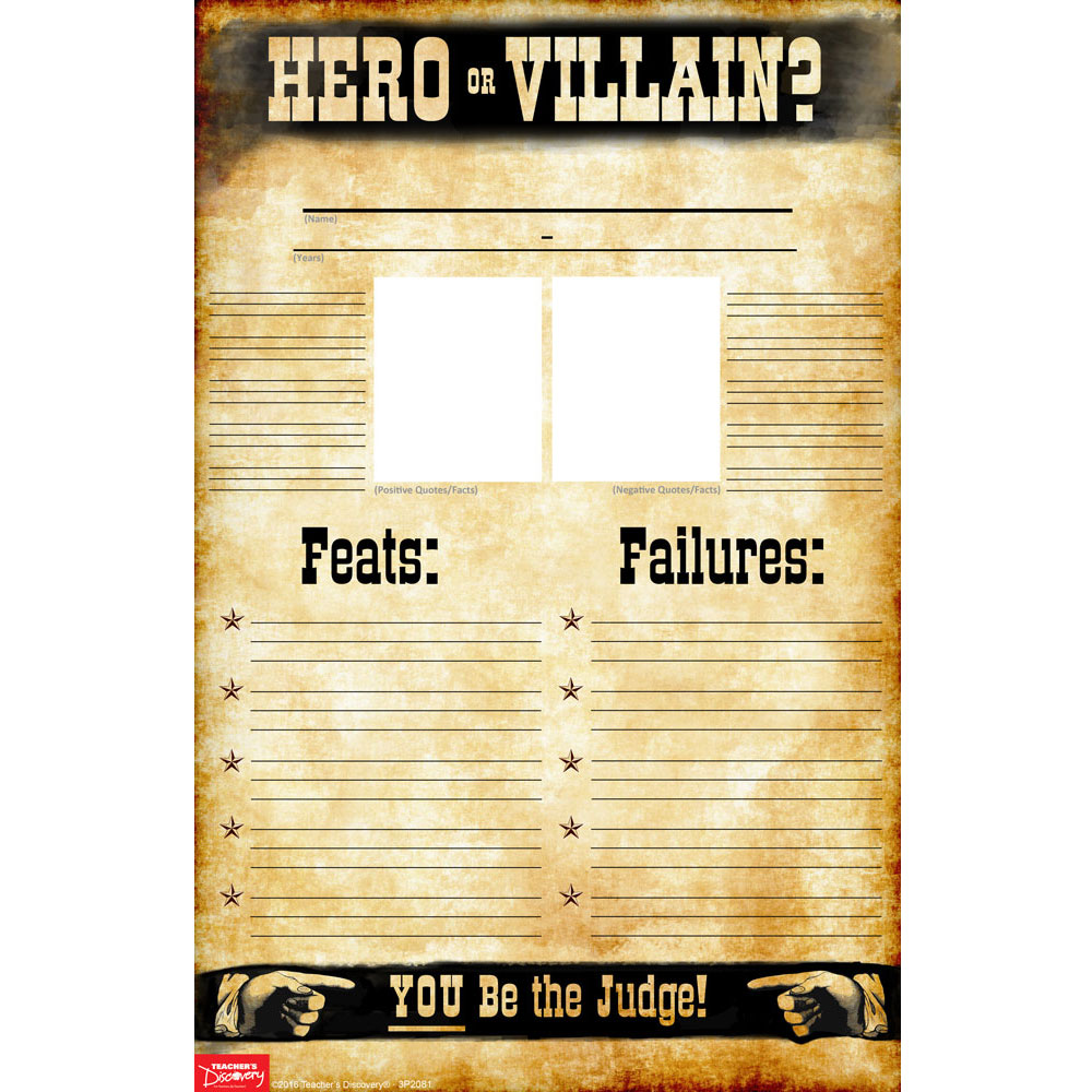 Hero or Villain? Blank Set of 35 Profile Posters