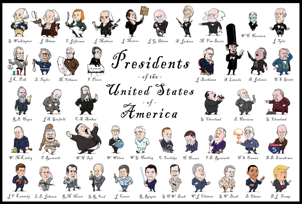 Illustrated Presidents Poster