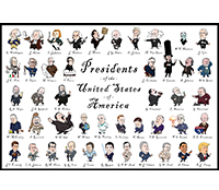 image relating to Printable Pictures of Presidents named Illustrated Presidents Poster