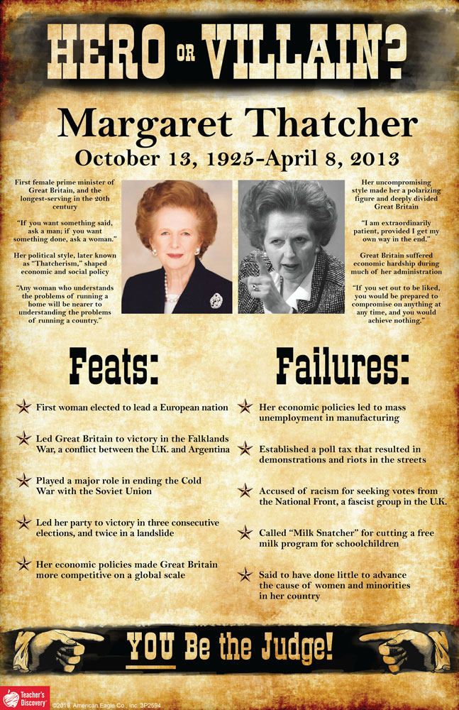 Margaret Thatcher: Hero or Villain? Mini-Poster