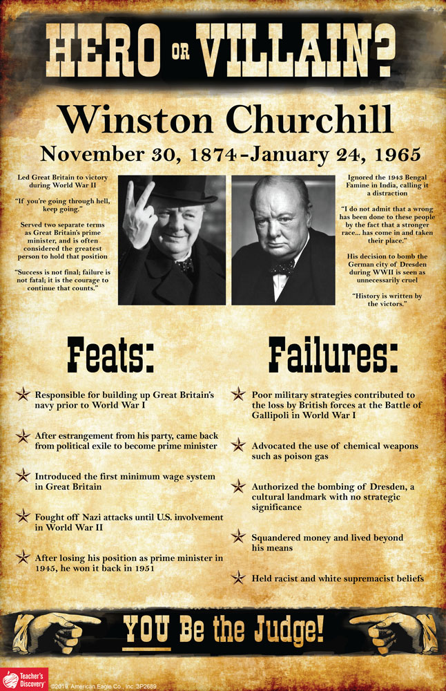 Winston Churchill: Hero or Villain? Mini-Poster