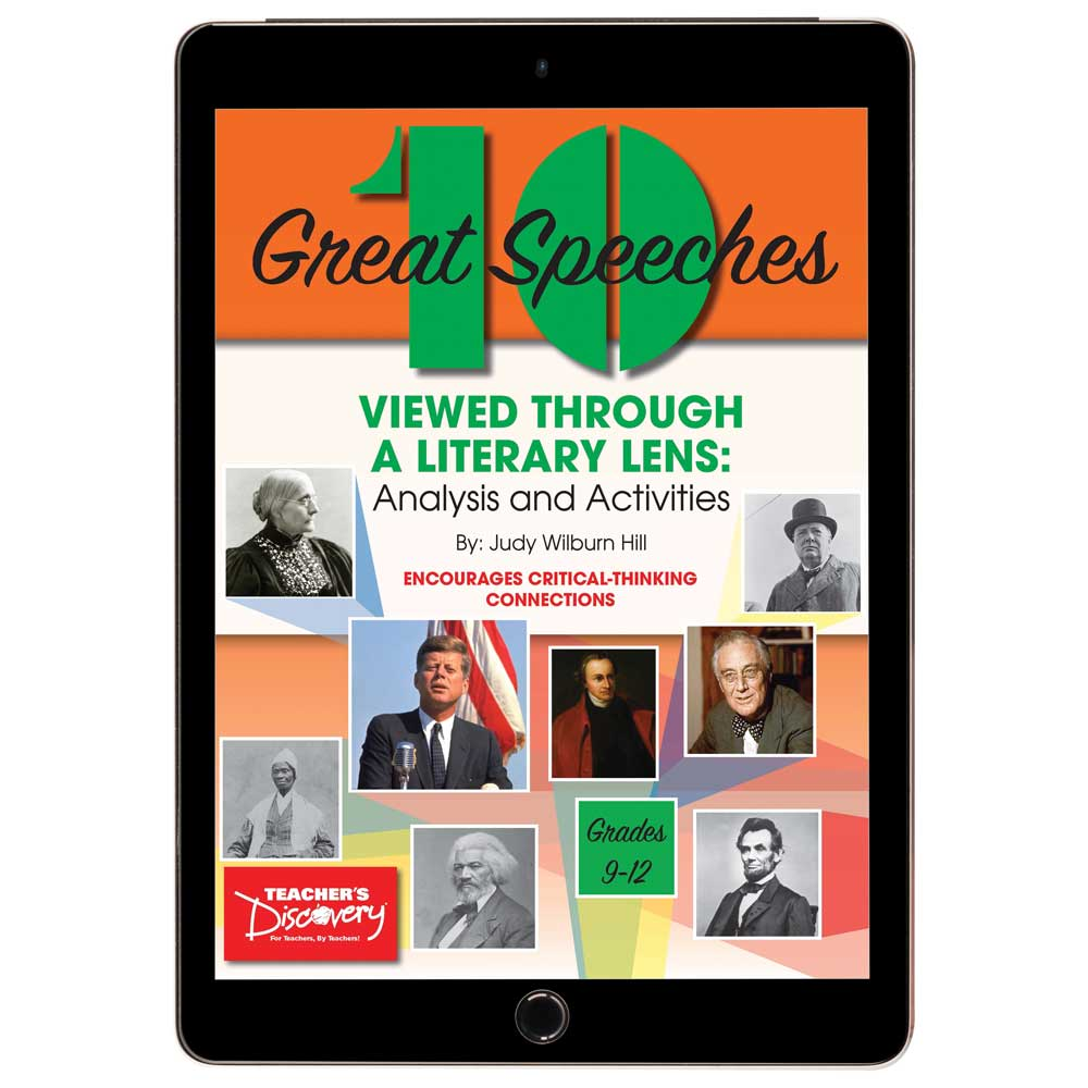 10 Great Speeches Viewed Through a Literary Lens: Analysis and Activities Book - 10 Great Speeches Viewed Through a Literary Lens: Analysis and Activities Print Book