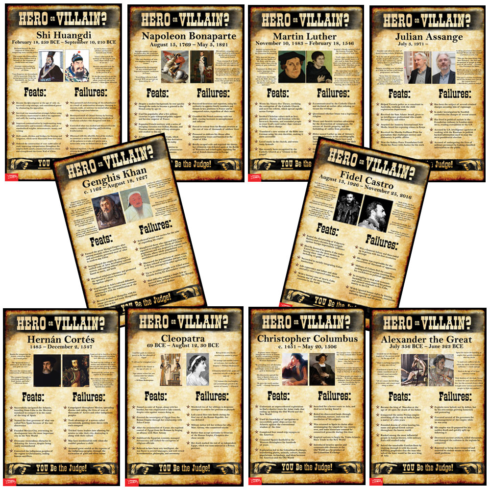 world history hero or villain mini poster set of 10 social studies teacher 39 s discovery. Black Bedroom Furniture Sets. Home Design Ideas